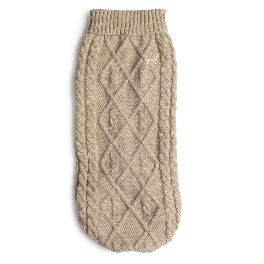 House Of Paws Cable Polo Neck Dog Jumper Oat M Gift