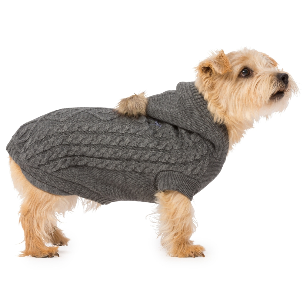 House Of Paws Cable Knit Dog Hoody Grey M Gift