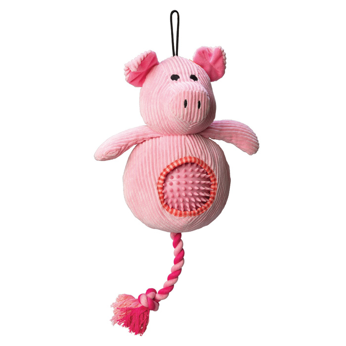 House Of Paws Pig Cord Toy With Spiky Ball Gift